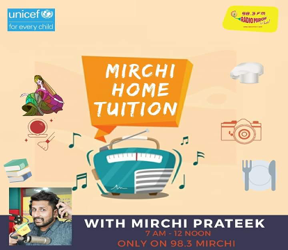 The poster of the Mirchi Home Tuition in collaboration with UNICEF India on Facebook site of Mirchi.
