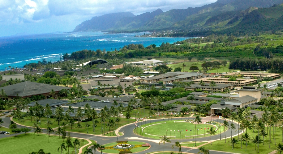 Aerial photograph of BYU Hawaii's campus